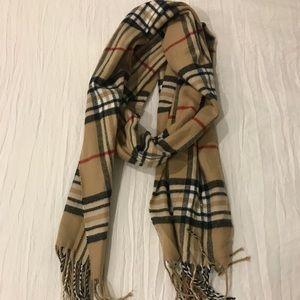 Tan plaid scarf with fringe